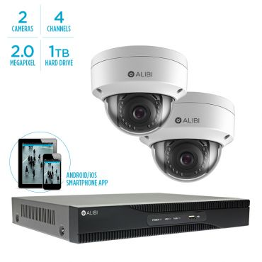 Alibi Witness 2 MP 2-Camera 100' IR IP Security Bundle, with 4-Channel NVR and 1TB HDD