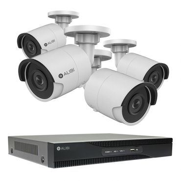 Alibi Witness 2 MP 4-Camera 100' IR IP Security Bundle, with 8-Channel NVR and 2TB HDD