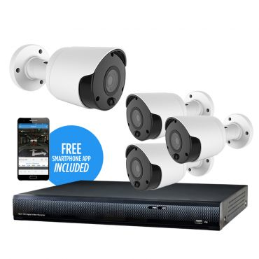 HDVision 8 MP 4-Camera 95' IR IP Security Kit, with 4-Channel NVR and 1TB HDD