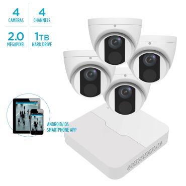 Alibi Vigilant MStar 2MP IP System - 4 x IR Turret Domes w/ 4-Channel NVR + 1TB HDD