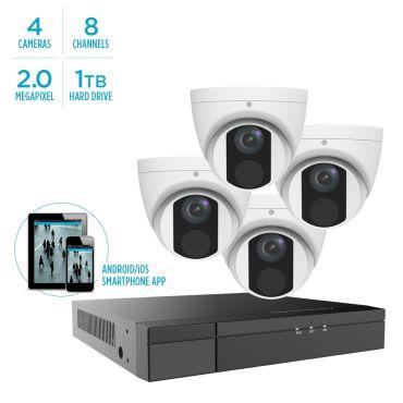 Alibi Vigilant MStar 2MP IP System - 4 x IR Turret Domes w/ 8-Channel NVR + 1TB HDD