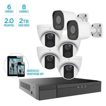 Alibi Vigilant MStar 2MP IP System - 4 x IR Turret Domes / 2 x IR Bullets w/ 8-Channel NVR + 2TB HDD