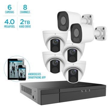 Alibi Vigilant MStar 4MP IP System - 4 x IR Turret Domes / 2 x IR Bullets w/ 8-Channel NVR + 2TB HDD