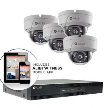 Alibi Witness 5 MP 4-Camera 65' IR HD-TVI Hybrid+ Vandalproof Security System, with 4-Channel DVR and 1TB HDD