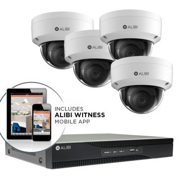 Alibi Witness 4K 8 MP 4-Camera 120' IR IP Outdoor Security System, with 4-Channel NVR and 1TB HDD