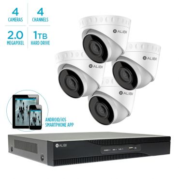 Alibi Witness 2 MP 4-Camera 100' IR IP Outdoor Security System, with 4-Channel NVR and 1TB HDD