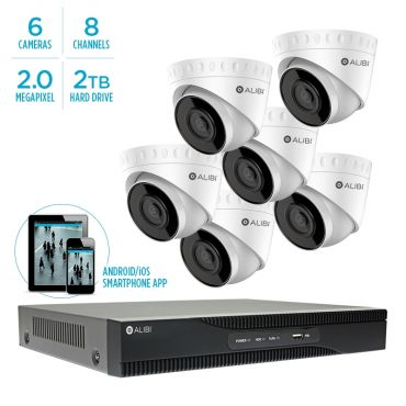 Alibi Witness 2 MP 6-Camera 100' IR IP Outdoor Security System, with 8-Channel NVR and 2TB HDD