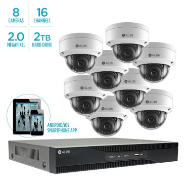Alibi Witness 2 MP 8-Camera 100' IR IP Outdoor Security System, with 16-Channel NVR and 2TB HDD