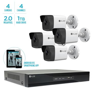 Alibi Witness 4 MP 4-Camera 100' IR IP Outdoor Security System, with 4-Channel NVR and 1TB HDD