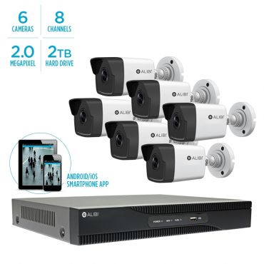 Alibi Witness 4 MP 6-Camera 100' IR IP Outdoor Security System, with 8-Channel NVR and 2TB HDD