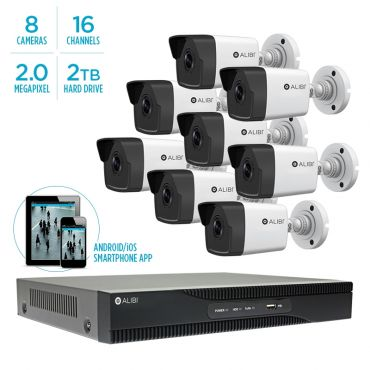 Alibi Witness 4 MP 8-Camera 100' IR IP Outdoor Security System, with 16-Channel NVR and 2TB HDD